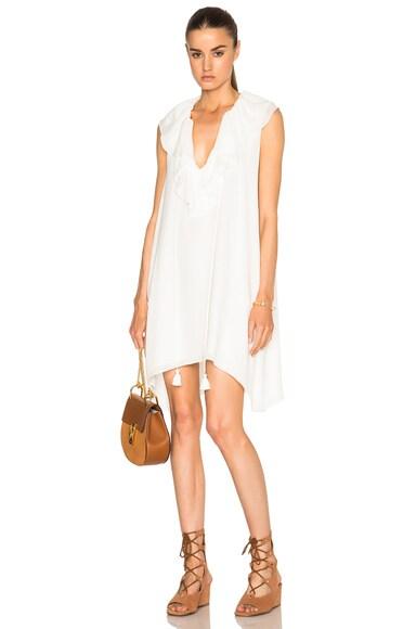 Chloe Fine Sheer Crepe Dress in Milk