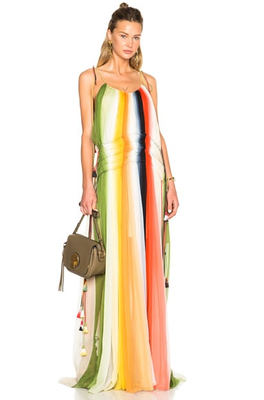 Chloe Rainbow Deep Dye Silk Crepon Dress in Green, Orange & Pink