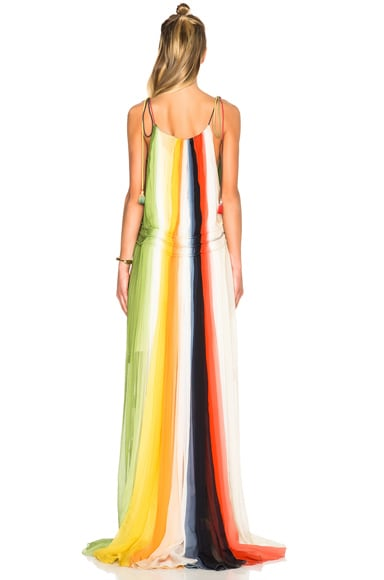 Rainbow Deep Dye Silk Crepon Dress