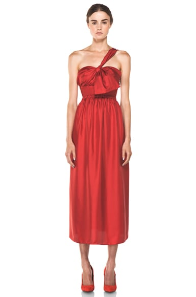 One Shoulder Silk Bow Dress