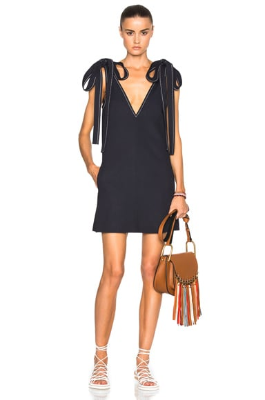 Textured Crepe Contrast Stitch Dress