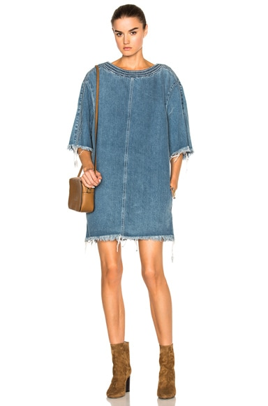 Chloe Washed Denim Dress in Light Blue