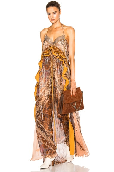 Chloe Foulard Silk Crepon Dress in Orange & Multi