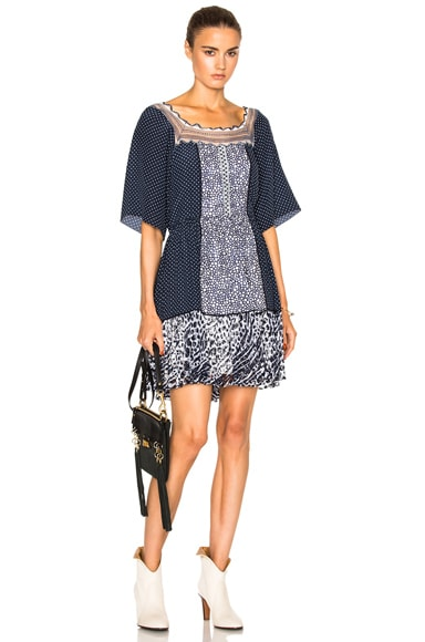 Chloe Lace & Double Georgette Dress in Navy