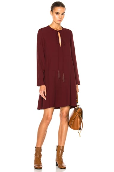 Chloe Light Cady Dress in Burgundy