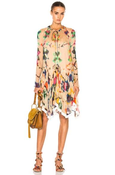 Chloe Technicolor Ink Blot Print Dress in Beige Multi