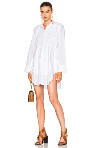 Chloe Light Cotton Voile Button Detail Shirt Dress in Milk