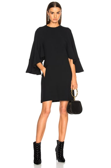 Light Cady Ruffle Sleeve Mini Dress