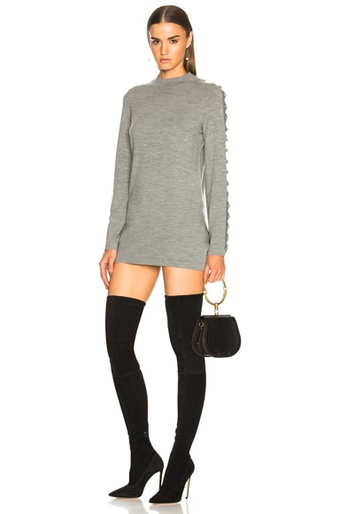Superfine Knit Embellished Sleeve Sweater Dress