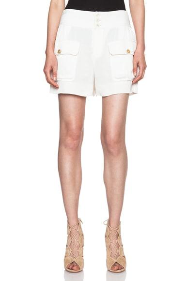 Chloe Fluid Crepe Pocket Shorts in Milk