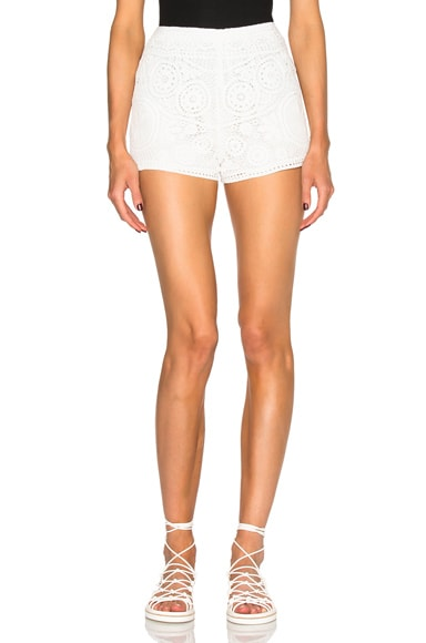 Chloe Crochet Embroidered Flower Shorts in Milk