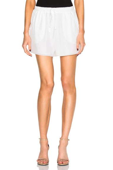 Chloe Crepe De Chine Shorts in Milk