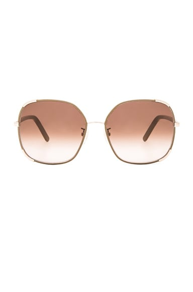 Chloe Square Nerine Sunglasses in Gold & Khaki