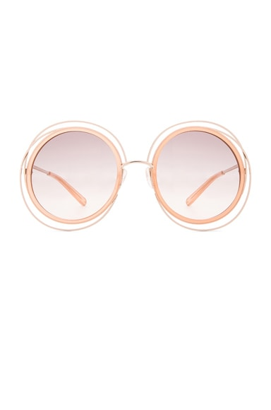 Chloe Carlina Circle Sunglasses in Gold & Transparent Peach