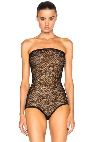 Chloe Stretch Lace Bodysuit in Black