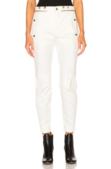 Chloe Washed Denim Moto Pants in Optic White