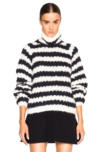 Chloe Mohair & Silk Handkint Turtleneck in Black & White