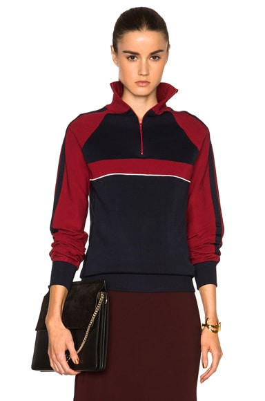 Chloe Sporty Silk Knit Track Jacket in Navy