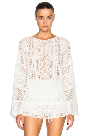 Chloe Cotton Mix Lacy Jacquard Sweater in Milk