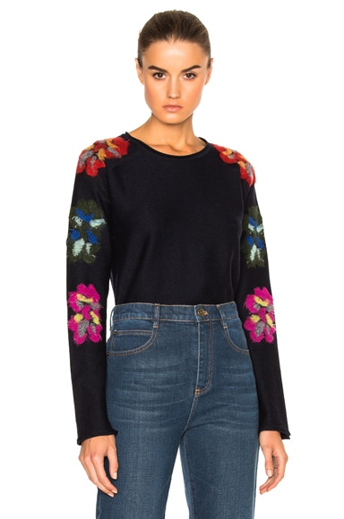 Chloe Flower Detail Sweater in Navy