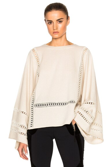Lace Inset Merino & Cashmere Sweater