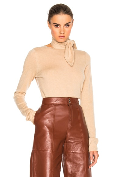 Chloe Tie Neck Sweater in Camel