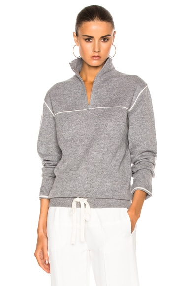 Chloe Bicolor Cashmere Pull On Sweater in Chine Gray
