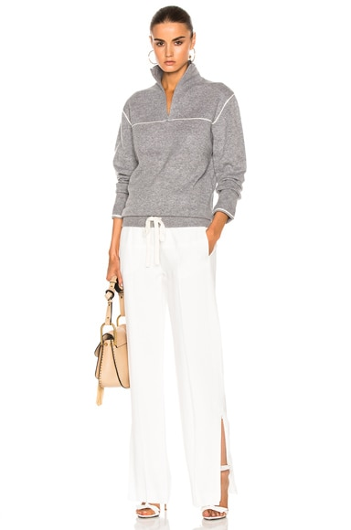 Bicolor Cashmere Pull On Sweater