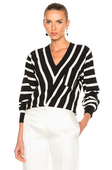 Chloe Sailor Stripe V-Neck Sweater in Black