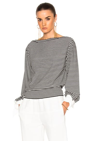 Chloe Cotton Micro Stripe Sweater in Black