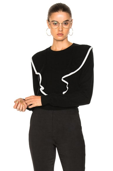 Cashmere Cotton Ruffle Front Sweater