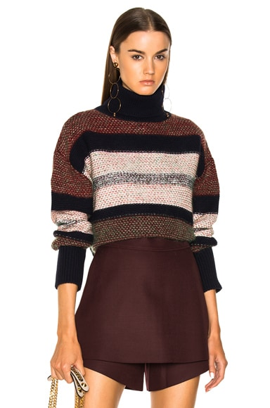 Color Block Tweed Turtleneck Sweater
