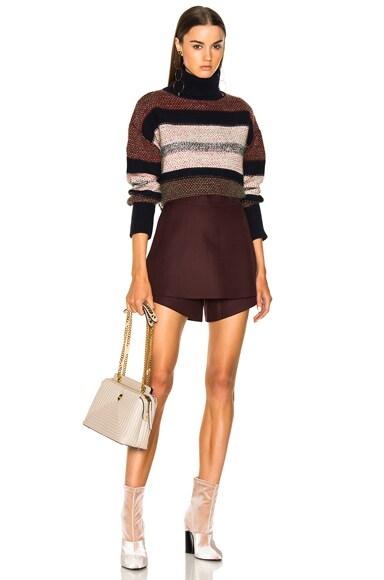Color Block Tweed Turtleneck Sweater