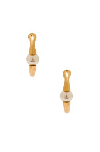 Chloe Darcey Round Pierced Small Hoop Earrings in Brass & Pearl
