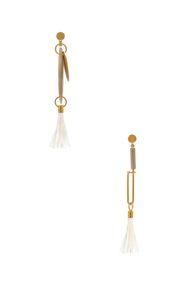 Chloe Harlow Brass & Ostrich Feather Earrings in Natural