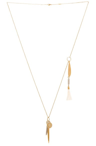 Chloe Harlow Brass & Ostrich Pendant Necklace in Natural
