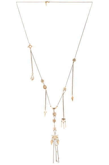 Chloe Layton Long Pendant Necklace in Golden Brass