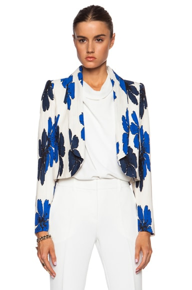 Hand Drawn Flowers on Silk Crepe de Chine Jacket