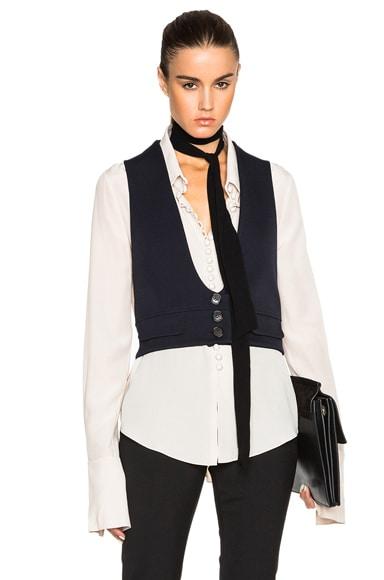 Chloe Wool Twill Tailoring Waistcoat in Black