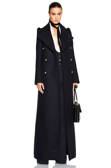 Chloe Compact Felted Wool Coat in Navy