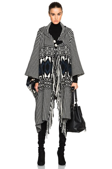 Chloe Felted Graphic Poncho in Black, Navy & White