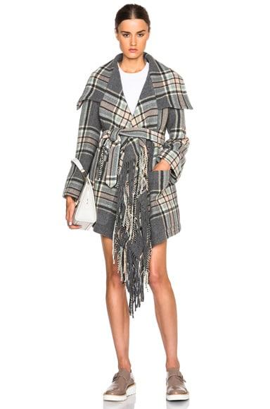 Chloe Maxi Checks Blanket Coat in Multi