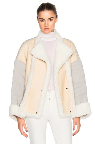 Chloe Curly Shearling Mix Jacket in Milk