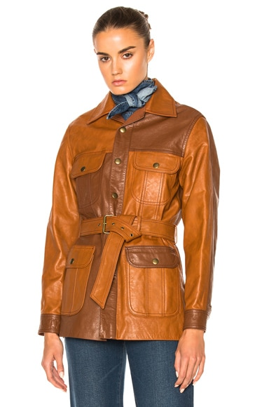 Chloe Nomadic Leather Jacket in Ochre