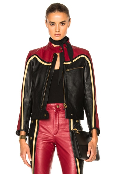 Chloe Leather & Nubuck Biker Jacket in Black & Red