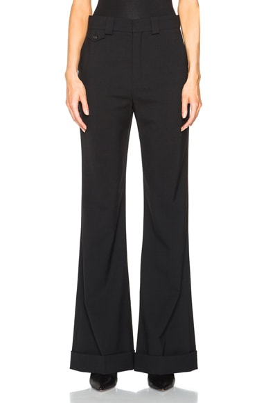 Chloe Stretch Wool Tailoring Trousers in Black