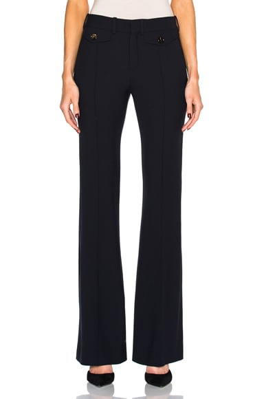 Chloe Stretch Wool Trousers in Navy