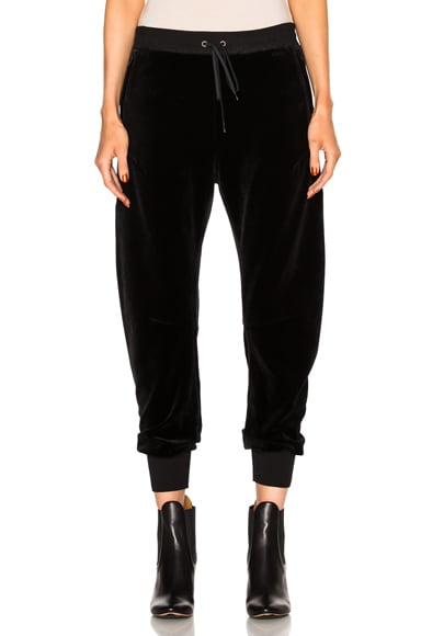 Chloe Velvet Cotton Jersey Sweatpants in Black