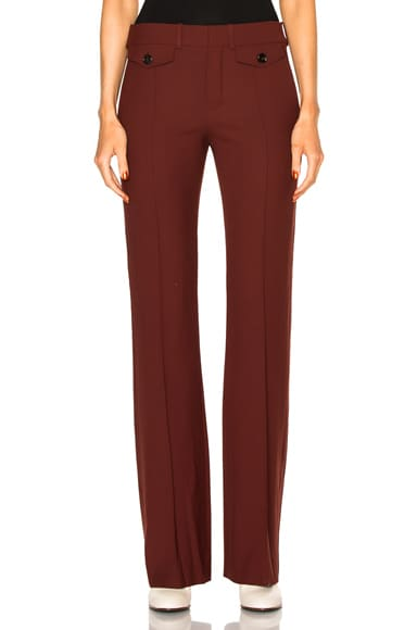 Chloe Stretch Wool Trousers in Burgundy