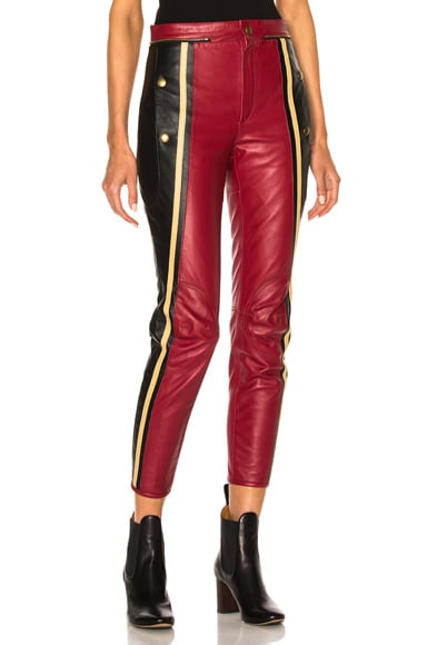 Chloe Leather & Nubuck Biker Pants in Black & Red